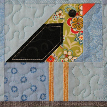 Quilted Wall Hanging , Folk Art Quilt , 5 Birds on a Wire , Scrappy Wall Hanging , Paper Pieced Quilt