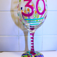 Hand Painted wine glass, 30th birthday, wine glass, 30th BIRTHDAY GIFT