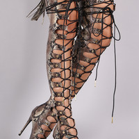 Python Corset Nail Studs Lace Up Stiletto Over-The-Knee Boots
