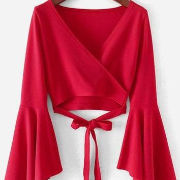 Red Bell Sleeve Knotted Hem Surplice Blouse