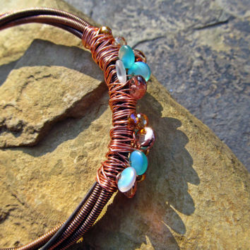 Gorgeous Copper Piano Wire Bracelet // OOAK Handmade Wire Wrapped Piano Wire Bangle // One of a Kind Salvaged Piano Wire Jewelry