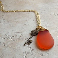 Orange Sea Glass Necklace:  Tangerine Tango Gold Wire Wrapped Beach Jewelry with Skeleton Key
