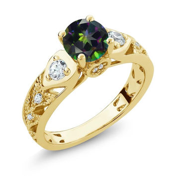 Round Green Mystic Topaz 18K Yellow Gold Plated Silver Ring