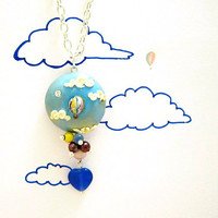 Hot air balloon necklace Unique polymer clay by FlowerLandShop