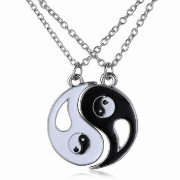 PEAPIX3 Traditional Chinese Taichi Pendant Couples Necklace BEST FRIENDS Jewelry BBF Necklace 2pcs (Color: Black white)