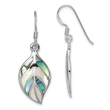 925 Sterling Silver Abalone Mother of Pearl Leaf Earrings