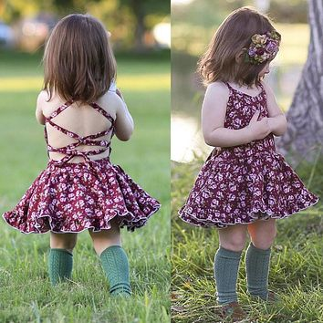 Baby Girls Floral Dress Summer Beach Holiday Backless Dress Toddler Clothes 0-4T
