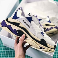 Balenciaga Tripl S Trainers White Gray Purple Sneaker - Best Online Sale