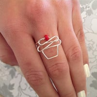 Cute Cupcake Ring With Cherry or Color 'Sprinkle' On Top, in Silver, Gold, Copper or Pink Rose Wire. Yummy!