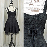 Sally Dress /  XS size 3 / 4  / Nightmare Before Christmas / 90s Disney / Black Corset dress / Goth / Party