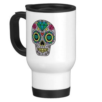 Colorful Flower Sugar Skull Travel Mug