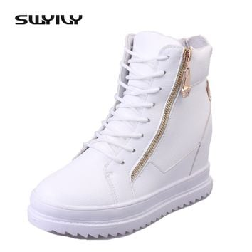 SWYIVY Women Sneaker White High Top Canvas Shoes Wedge Platform Sneakers Women Casual Shoes 2018 Winter Warm Cotton Padded 40