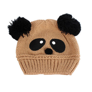 Baby Kids Cartoon Panda Ball Handmade Knitted Crochet Beanie Cap Hat New SM6
