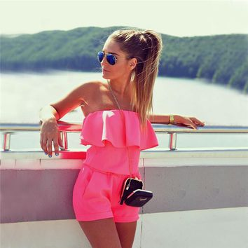 Women's Strapless Romper with Ruffle Top