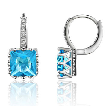 Luxury Square Inlay Zircon Drop Earring in 5 colors