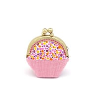 Whimsical red cupcake mini coin purse
