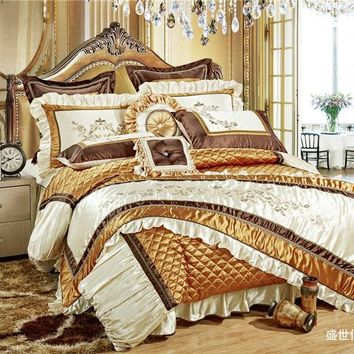 11Pc Luxury Silk Cotton Royal Bedding set Golden Queen/King Size For Wedding Bed  Duvet Cover BedSpread Decorative juego de cama