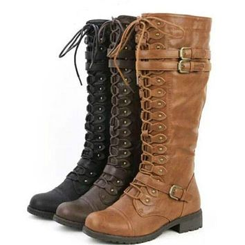 Knee High Combat Boots | Women's Motorcycle Boots