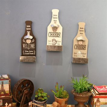Kitchen Metal Wood Wine Beer Bottles Opener 3 Colors Home Bar Bottles Opener Wall Mounted Openers Kitchenware Barware Supplies