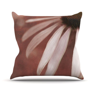"Iris Lehnhardt ""Copper and Pale Pink"" Brown Flower Throw Pillow"