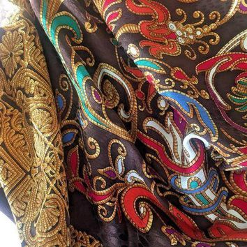 CREYRQ5 YSL YVES SAINT LAURENT women's Scarf Floral Silk Multi color Brown Gold foulard