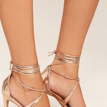 Glamorous Top of the Class Rose Gold Lace-Up Heels 624b5ff5b