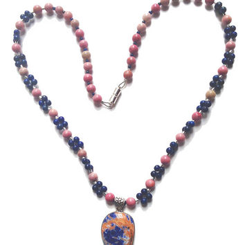 Beaded Necklace of Rhodochrosite and Lapis round beads, matching Sterling Orange Sodalite Vintage Pendant, Birthday/Anniversary gift for her