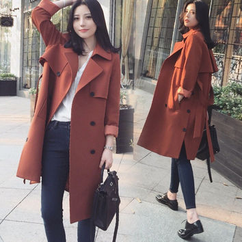 The new spring 2017 han edition dress double-breasted coat long cultivate one's morality in the women's trench coat