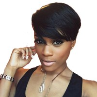 Beautiful Short Side Swept Bang Wig in Color #1B