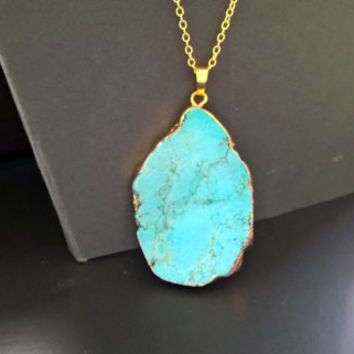 Raw Turquoise Necklace,turquoise necklace gold,turquoise necklace,18k gold plated chain,gold,