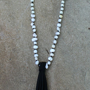 Long Pearl Necklace with Black Leather Tassel