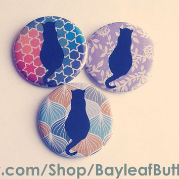 Pattern Cats | Large 2.25 Inch Button | Kitsch, Hipster, Floral Kitty Cats