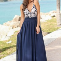 Navy Maxi Dress with Open Back and Embroidered Top