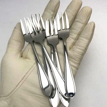 Vintage Gero Zilmeta Cocktail Forks, Boxed Set of 6 Small Olive Forks, Stainless Steel, Holland, circa 1960s