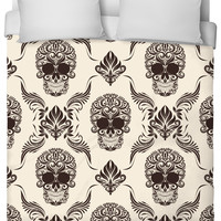 Skull and Flourishes Duvet Cover