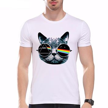 New Summer Vintage Pink Floyd Cat Print T Shirt