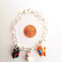Aristocats Inspired Clay Charm Bracelet by aWishUponACharm on Etsy