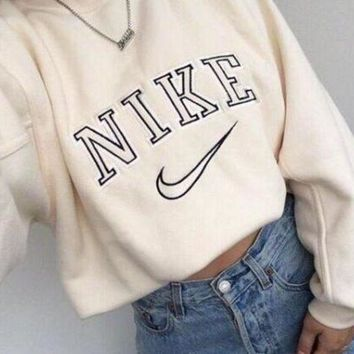 MDIGON1O Women Fashion NIKE Round Neck Top Sweater Pullover Sweatshirt Day First