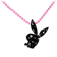 Playboy Bunny Paint Splatter Pink Charm Necklace | Body Candy Body Jewelry
