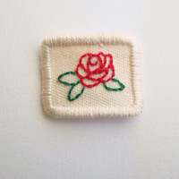 Teeny Tiny Rose Hand Embroidered Patch Sew On Flower Patch