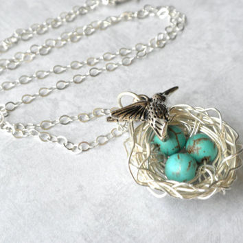 Silver Bird Nest Necklace, Nature Lovers Necklace, Bird Nest Jewelry, Mom to Be, Silver Bird Charm Necklace, Mother's Day Gift, Turquoise