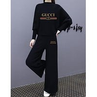 """Gucci"" Women Loose Fashion Letter Print Turtleneck Long Sleeve Wide Leg Pants Trousers Set Two-Piece Sportswear"