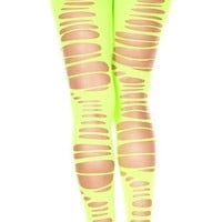 Green (neon) Large Ripped Pantyhose
