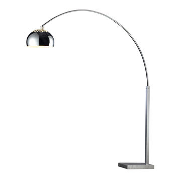 Penbrook Arc Floor Lamp in Chrome with White Marble Base