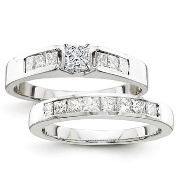Certified 1.50 Ct. Princess Diamond Bridal Engagement Ring Set with Side Stones in 14K White Gold
