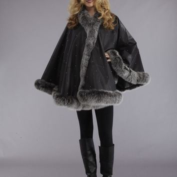 CLASSIC LEATHER CAPE with SILVER FOX FUR TRIM and RHINESTONES