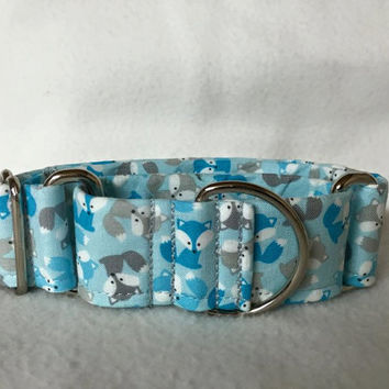 "Urban Zoologie Mini Foxes Blue Martingale or Quick Release Collar 5/8"" Quick Release 3/4"" 1"" Martingale Collar, 1.5"" Martingale 2"""