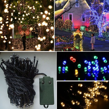 New 10M 72 LED Outdoor Light Christmas String Fairy Wedding Party String Battery Lamp Light