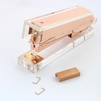 TUTU Rose Gold Stapler Acrylic Edition Metal Manual Staplers 24/6 26/6 Include 100 Pcstaples Office Accessories School Supplies