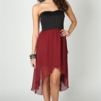 Strapless Dress with Embossed Bodice and High Low Tulip Skirt